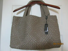 NWT FALOR Beige Leather Hand Woven