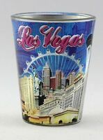 LAS VEGAS NEVADA BLUE METALLIC SKYLINE COLLAGE SHOT GLASS SHOTGLASS