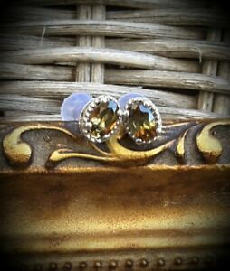 NEW 6x4mm Natural Trichroistic Andalusite Scroll & Bead Stud Earrings, Platinum