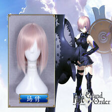 Fate/Zore Full Hair Matthews Cosplay Short Straight Light Pink Wig 35cm/14''