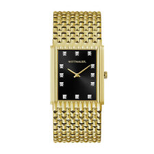 Wittnauer Men's WN3083 Quartz Diamond Accents Black Dial Gold-Tone 33mm Watch