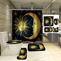 Waterproof Shower Curtain Non-slip Toliet Bath Mat Pedestal Rug Lid Toilet Cover