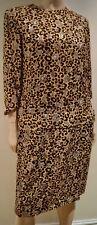 Mirella cavorso Beige & Braun Seide Leopard Print 3/4 Ärmel Tunika Kleid 46 UK14