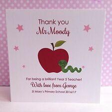 Personalised Handmade Card Apple & Bookworm THANK YOU Teacher Assistant Nursery
