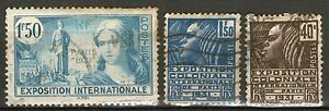 France - 3 Exposition Stamps - 1931 & 1937 - Used