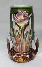 "Vintage Majolica Art Nouveau Vase Iris Flowers 5 1/4"" tall & 3"" across the base"