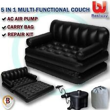 Bestway Inflatable 5 in 1 Multi-functional Couch Double-sized Air Bed Sofa Black