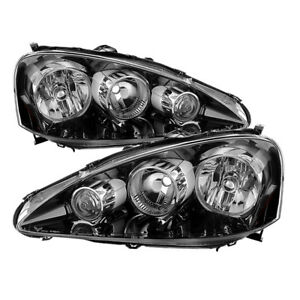 Fit Acura 05-06 RSX Black Housing Replacement Headlights Left + Right Pair Set
