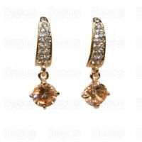 CRYSTAL drop EARRINGS nude champagne citrine CZ GOLD TONE clip on GIFT UK