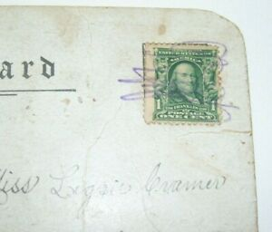 Rare Ben Franklin One Cent Stamp Off Set Printing Error
