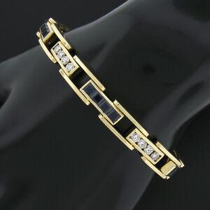 Men's 18k Gold 9.60ct GIA NO HEAT Sapphire & Round Diamond Channel Link Bracelet