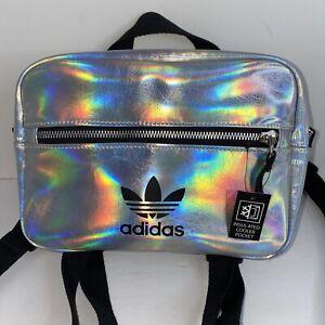Adidas Originals Mini Airliner Backpack Silver Metallic Iridescent New Unisex