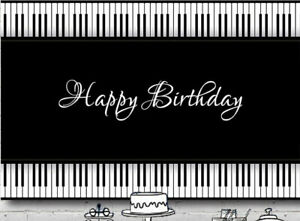 PIANO MUSIC BLACK WHITE PERSONALISED BIRTHDAY PARTY BANNER BACKDROP BACKGROUND
