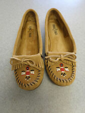 """Minnetonka """"Thunderbird"""" tan suede moccasins with rubber soles, Women's 9"""