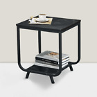 Side Table, 2-Tier End Table with Storage Shelf, Black Marble