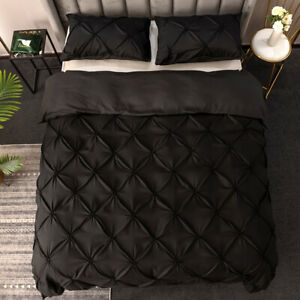 Solid Duvet Cover Quilt Pillowcase Bed Set Twin Full Queen Super King All Size