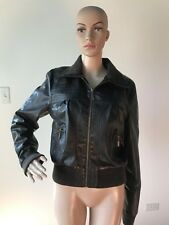 Out Of Order Dark Chocolate Brown Vegan Faux Leather Bomber Jacket Coat Zipper L