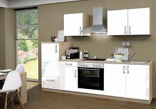 Küchenblock ohne Elektrogeräte Premium 270 cm in weiß glänzend mit Spüle