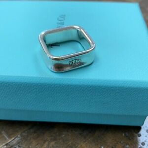 Sterling Silver 925 Square Tiffany & Co. Ring Size 9 1837