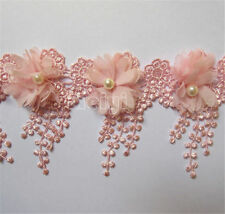 10pcs Vintage Pearl Fringe Chiffon Lace Edge Trim Tassel Ribbon DIY Sewing Craft