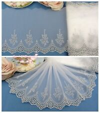 "6.5""*1Y Embroidered Tulle Lace Trim~Ivory White+Silver~The Rose in the Mirror~"