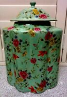 LOVELY Large VINTAGE Decorative HAND PAINTED FLORAL DES GINGER JAR 14 X 11 INCH