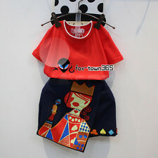 Summer Baby Girl Child Kids Red Short T-Shirt+Queen Poker Skirt Dress Sets 2-8Y