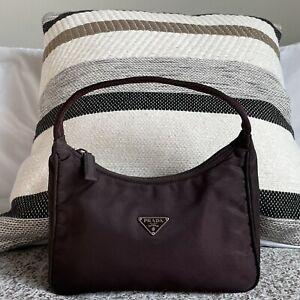 PRADA Vintage Chocolate Brown Nylon Tessuto Mini Hobo Shoulder Bag