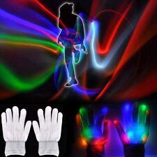 Unisex Multicolor Flashing White Gloves LED Rave/Punk Light Strobe, onesize