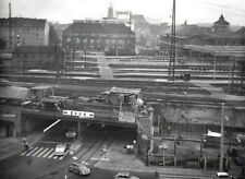 More details for 1959 photo nuremberg station germany train tracks people cars signs construction