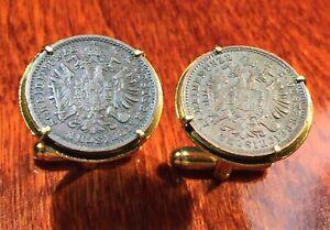 Antique 1800s Imperial Austria Double Eagle Austrian Copper Coin Cufflinks + Box