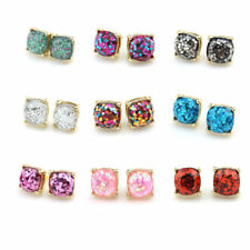 Fashion Gold Plated Small Square Studs Galaxy Glitter Square Stud Earrings Gift