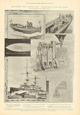 Coal Gasification, Royal Navy, No Smoke, Smell or Stoker, 1905 Antique Print,