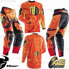 "Thor Flux Block Yellow Orange Race XL Jersey 36"" Pants Kit Motocross Enduro"