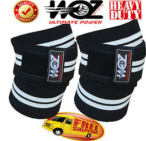 WOZ WEIGHT LIFTING BODYBUILDING KNEE WRAPS GYM POWER LIFTING SUPPORTS STRAPS