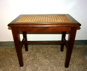 Antique 19th-Century Hepplewhite Hand-Caned Solid Mahogany/Oak Wood Entry Bench