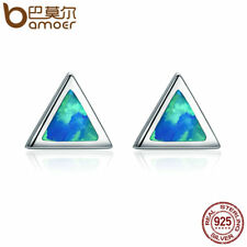 Bamoer 925 Sterling Silver Stud Opal earrings memory of the star stone For Women