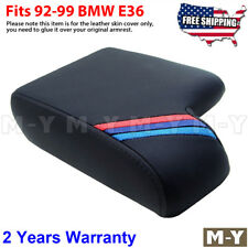 Fits 92-99 BMW E36 M3 Black Leather Console Lid Armrest Cover M Tech Stripes