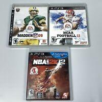 Ps3 Playstation 3 NCAA Football 11 NBA 2K12 Madden 09 Sports Lot