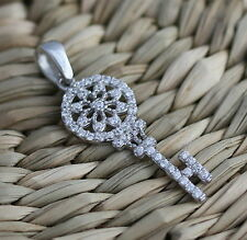 New Solid 925 Sterling Silver Key Pendant Necklace Jewellery