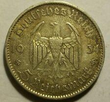Germany Nazi 5 Reichsmark Church Swastika 1934 A .900 Silver 705