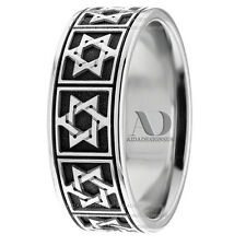 Mens Religious Jewish Star Wedding Ring 8mm Wide 10K Gold With Enamel Paint Ring