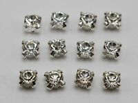 100 Silver Clear Crystal Glass Rose Montees 6mm Sew on Rhinestones Beads