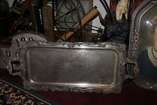 Antique Victorian Silver On Copper Metal Serving Tray-Intricate Scroll Work-LQQK
