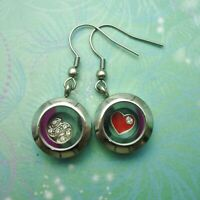 Adorable Stainless Steel Floating Charm Locket Earrings - Silver