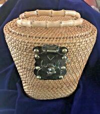 Vintage Rattan Handbag Purse 2 Bamboo Handles Brass Metal Accents Unlined