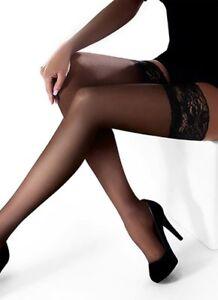 15 Denier Lace Top Sheer Beige, Black Hold Ups, Marilyn Erotic Hosiery