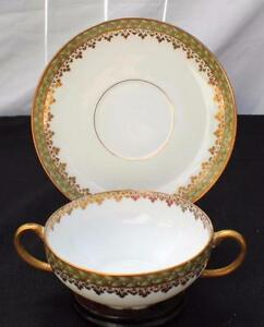 Antq CH FIELD HAVILAND LIMOGES France EMPIRE WREATH Pattern Soup Cup&Saucer Chip