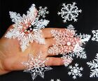 UK 57 REUSABLE WHITE CHRISTMAS SNOWFLAKES WINDOW STICKERS CLINGS Decorations