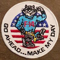 "USN NAVY: F-14 TOMCAT ""GO AHEAD...MAKE MY DAY""  COLOR FLIGHT DRESS VINTAGE PATCH"
